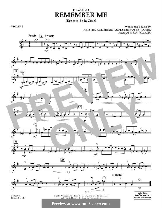 Remember Me from 'Coco' (Ernesto de la Cruz): Violin 2 part by Robert Lopez, Kristen Anderson-Lopez