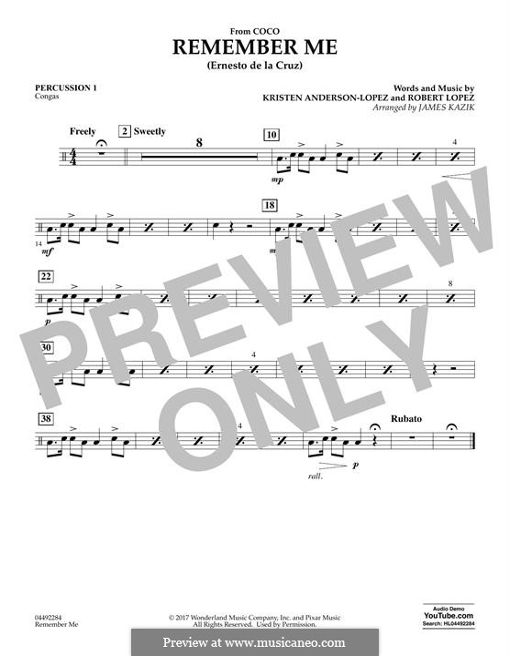 Remember Me from 'Coco' (Ernesto de la Cruz): Percussion 1 part by Robert Lopez, Kristen Anderson-Lopez