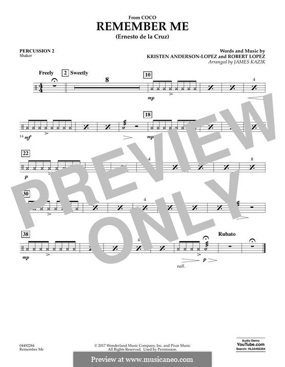 Remember Me from 'Coco' (Ernesto de la Cruz): Percussion 2 part by Robert Lopez, Kristen Anderson-Lopez