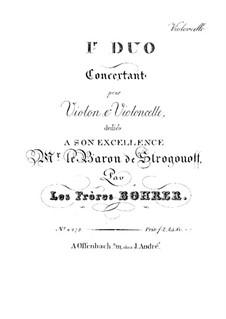 Концертные дуэты для скрипки и виолончели: Дуэт No.1 – партия виолончели by Антуан Борер