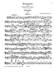 Соната для виолончели и фортепиано, Op.41: Сольная партия by Fernand Le Borne