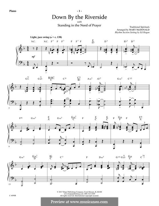 Down By the Riverside: For winds – Piano part by folklore