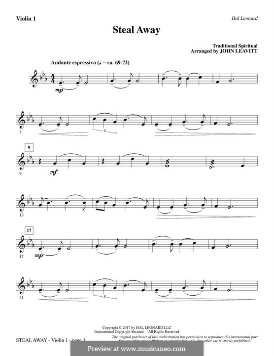 Steal Away (Steal Away To Jesus): For strings – Violin 1 part by folklore