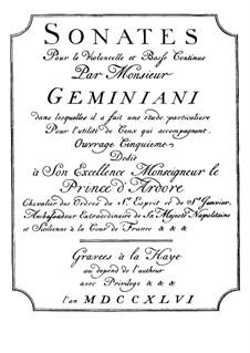 Шесть сонат для виолончели и бассo континуо, Op.5: Шесть сонат для виолончели и бассo континуо by Франческо Джеминиани