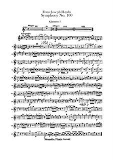 Симфония No.100 соль мажор 'Военная', Hob.I/100: Партии I-II кларнетов by Йозеф Гайдн