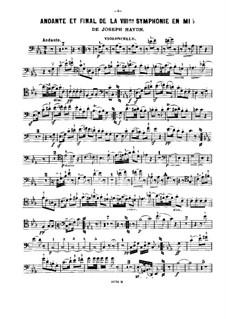 Симфония No.103 ми-бемоль мажор 'С тремоло литавр', Hob.I/103: Части II и IV, для скрипки, виолончели и фортепиано – Партия виолончели by Йозеф Гайдн