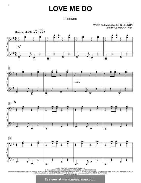 Love Me Do (The Beatles): Для фортепиано by John Lennon, Paul McCartney