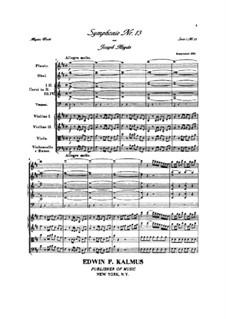 Симфония No.13 ре мажор, Hob.I/13: Партитура by Йозеф Гайдн