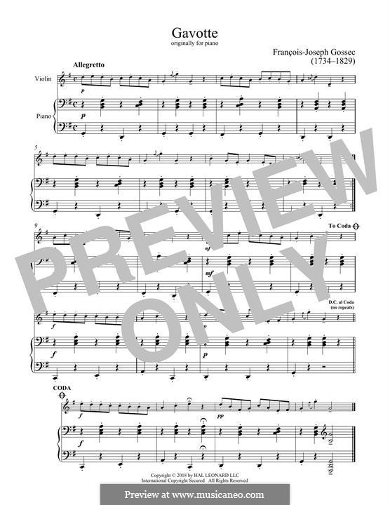 Гавот ре мажор: Для скрипки и фортепиано by Франсуа Жозеф Госсек