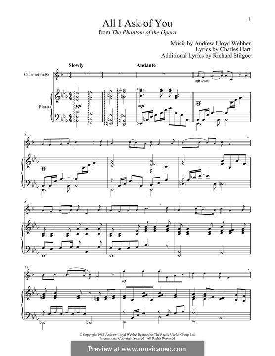 All I Ask of You: Для кларнета и фортепиано by Andrew Lloyd Webber