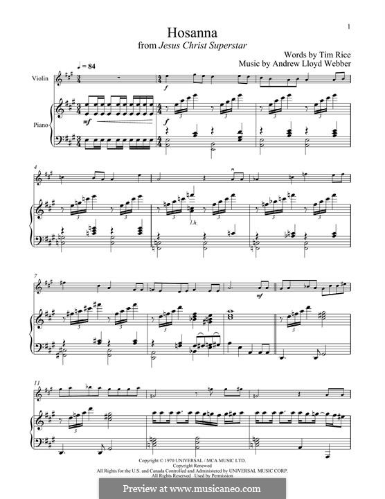 Hosanna (from Jesus Christ Superstar): Для скрипки и фортепиано by Andrew Lloyd Webber