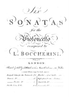 Соната для виолончели и бассо континуо No.2, G.6: Партитура by Луиджи Боккерини