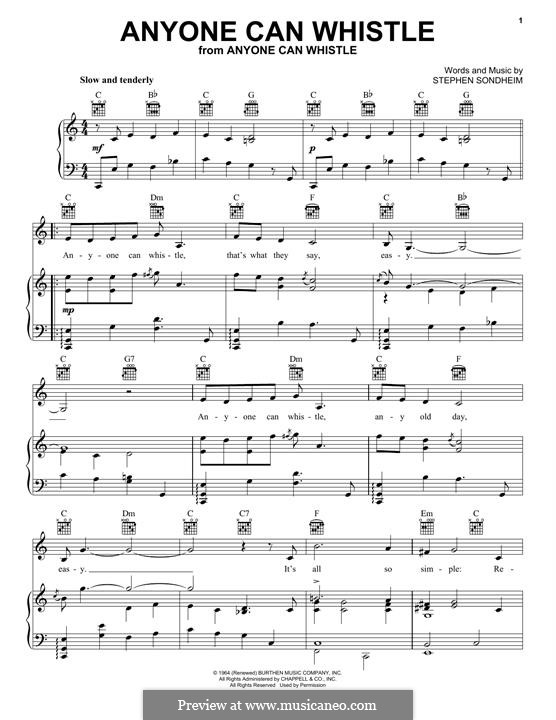 Anyone Can Whistle: Для голоса и фортепиано (или гитары) by Stephen Sondheim