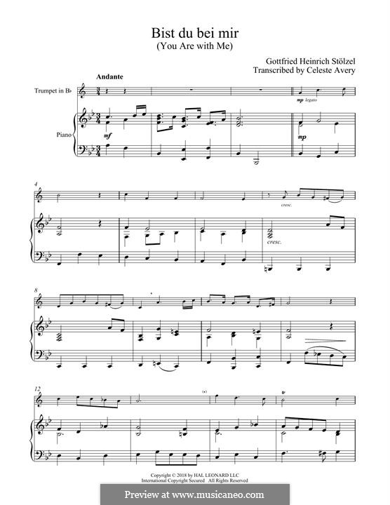 No.25 Bist du bei mir (You Are with Me), Printable scores: For trumpet and piano by Иоганн Себастьян Бах