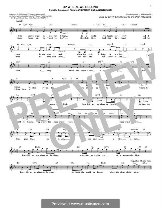 Up Where We Belong: Для клавишного инструмента by Joe Cocker, Will Jennings