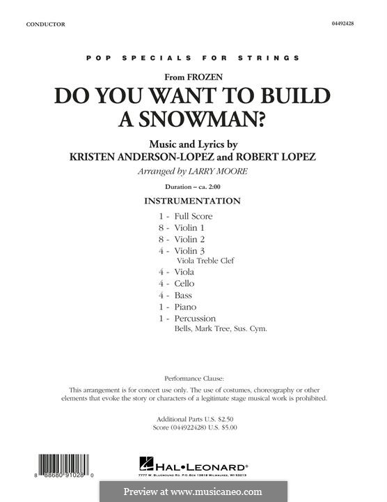 Do You Want to Build a Snowman? (from Frozen) arr. Larry Moore: Партитура by Robert Lopez, Kristen Anderson-Lopez