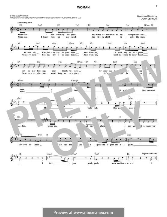 Woman: Для клавишного инструмента by John Lennon