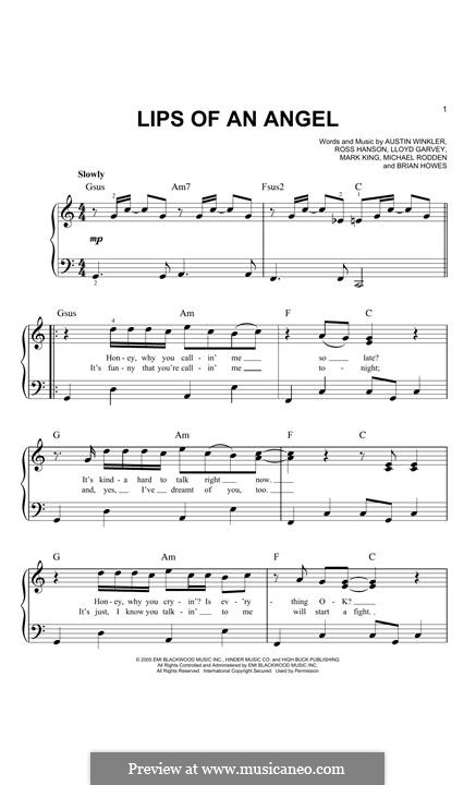 Lips of an Angel (Hinder): Для фортепиано by Austin Winkler, Brian Howes, Lloyd Garvey, Mark King, Michael Rodden, Ross Hanson
