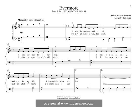 Evermore (from Beauty and the Beast): Для фортепиано by Alan Menken