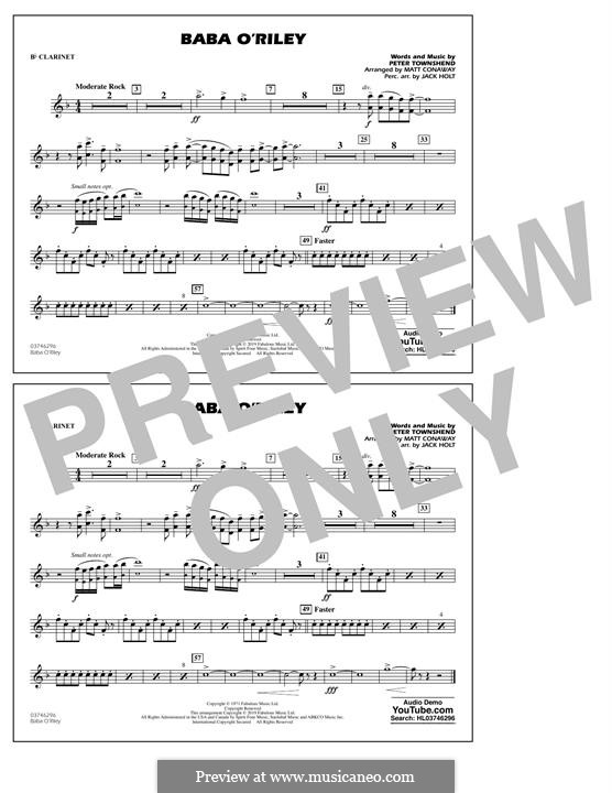 Baba O'Reilly (from Summer of Sam): Bb Clarinet part by Peter Townshend