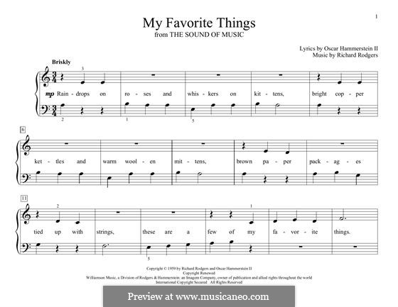 My Favorite Things (from The Sound of Music), for Piano: Easy version by Richard Rodgers