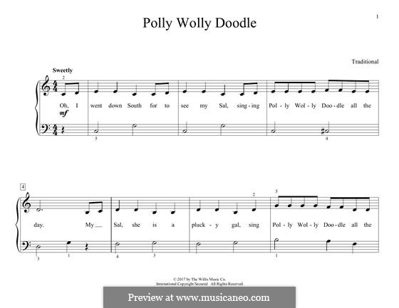 Polly Wolly Doodle: Для фортепиано by folklore