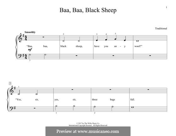 Baa Baa Black Sheep: Для фортепиано by folklore