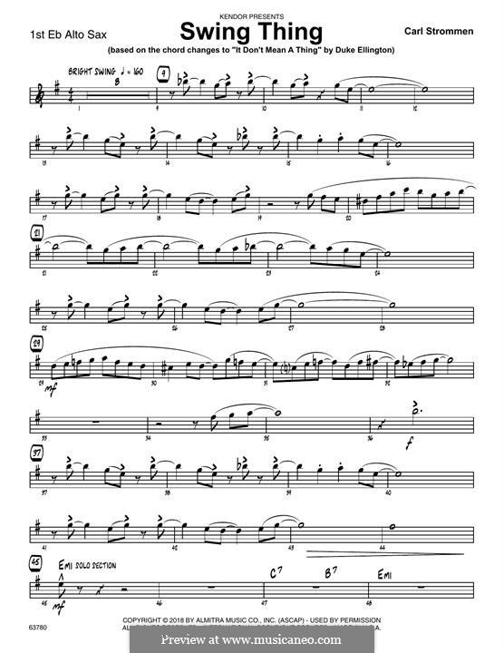 Swing Thing: 1st Eb Alto Saxophone part by Carl Strommen