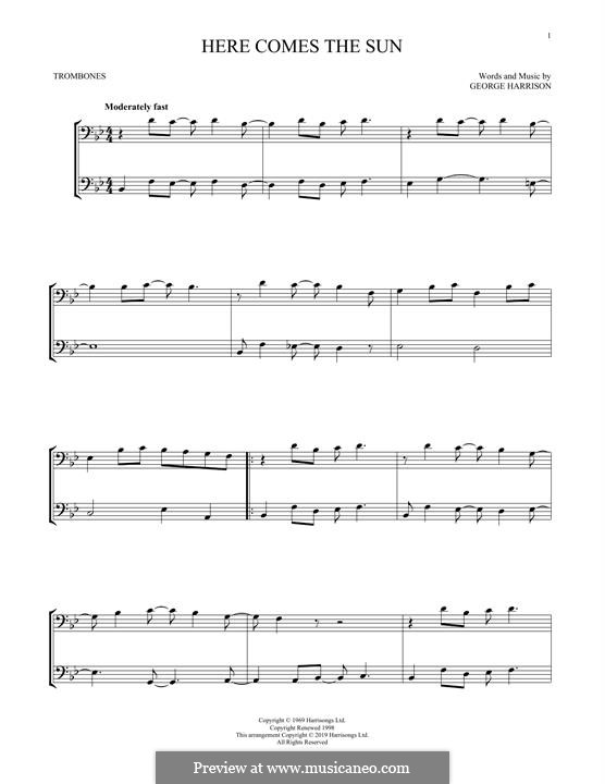 Here Comes the Sun (The Beatles): For two trombones by George Harrison