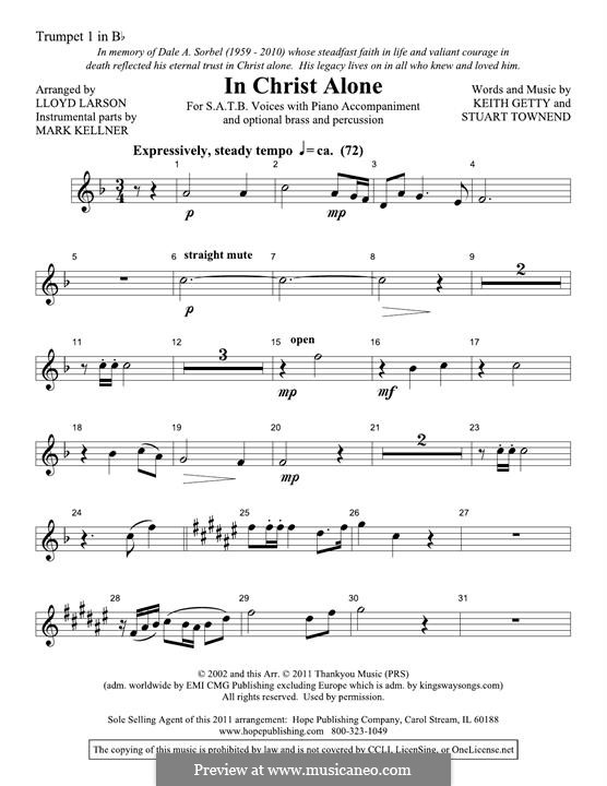 In Christ Alone (Newsboys): Bb Trumpet 1 part by Keith Getty, Stuart Townend