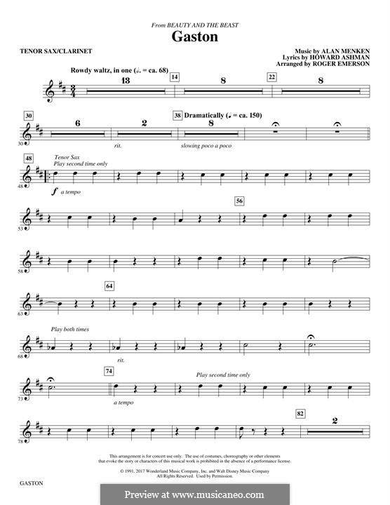 Gaston (from Beauty and the Beast): Tenor Sax/Clarinet part by Alan Menken