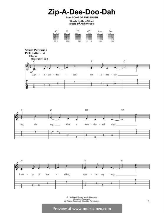Zip-A-Dee-Doo-Dah: Для гитары by Allie Wrubel