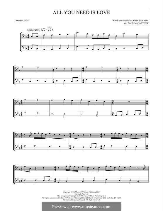 All You Need Is Love (The Beatles): For trombone by John Lennon, Paul McCartney
