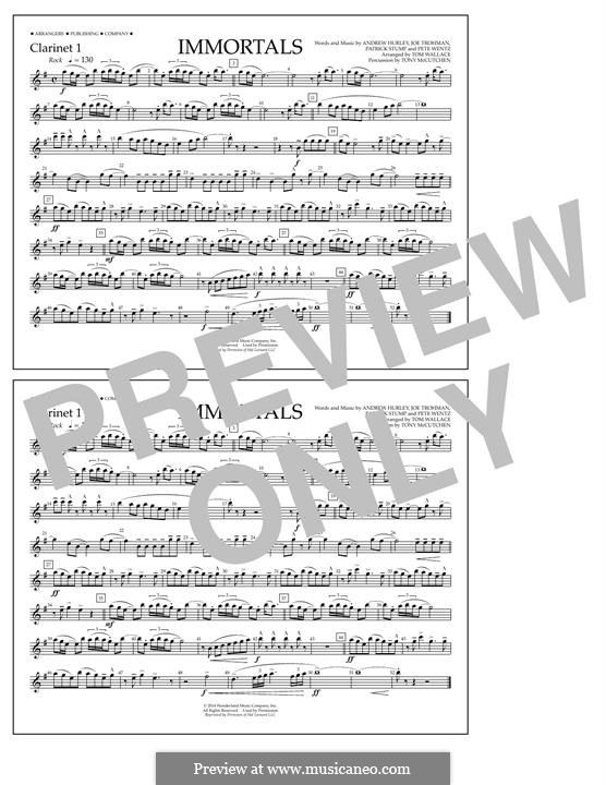 Immortals (Fall Out Boy): Clarinet 1 part by Andrew Hurley, Joseph Trohman, Patrick Stump, Peter Wentz