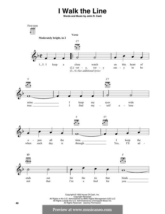 I Walk the Line: For banjo by Johnny Cash
