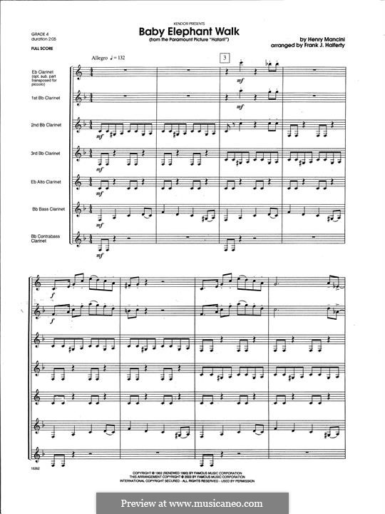 Baby Elephant Walk (From The Paramount Picture 'Hatari!'): For clarinets ensemble – Full Score by Henry Mancini