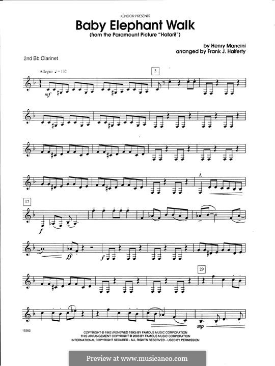 Baby Elephant Walk (From The Paramount Picture 'Hatari!'): For clarinets ensemble – Bb Clarinet 2 part by Henry Mancini