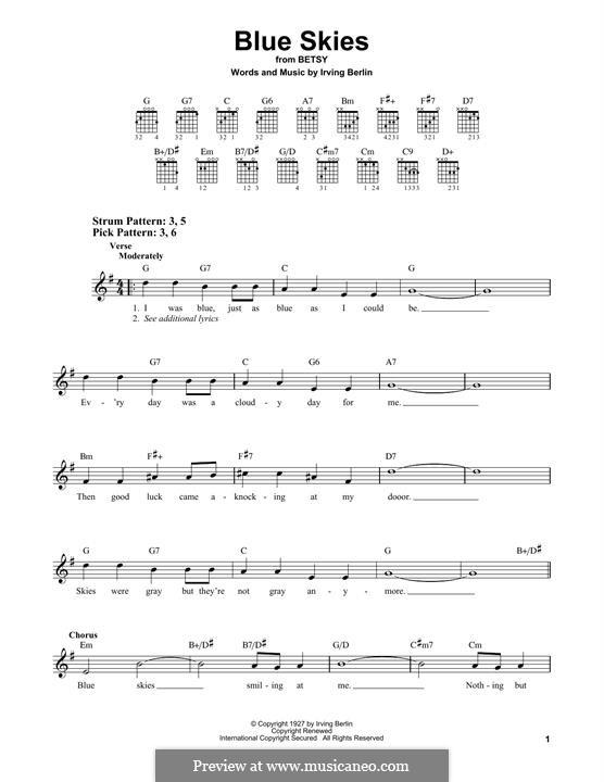 Blue Skies: Для гитары by Ирвинг Берлин