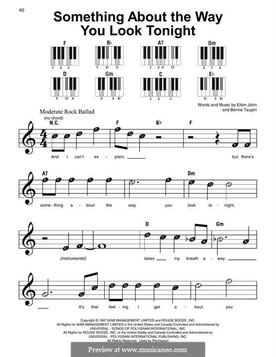 Something About the Way You Look Tonight: Для фортепиано by Elton John