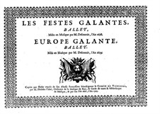 Les fêstes galantes: Violin, flute and oboe part by Henri Desmarets