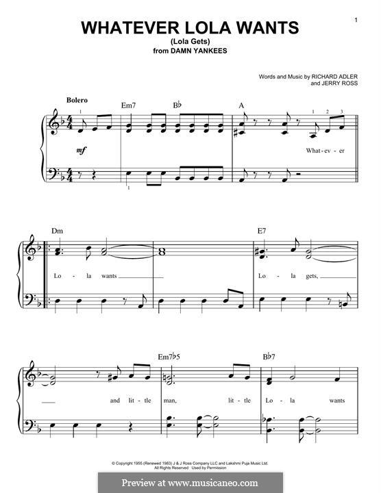 Whatever Lola Wants (Lola Gets): Для фортепиано by Jerry Ross, Richard Adler