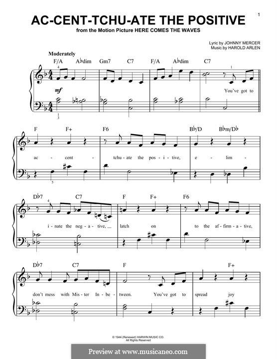 Ac-cent-tchu-ate the Positive: Для фортепиано by Harold Arlen