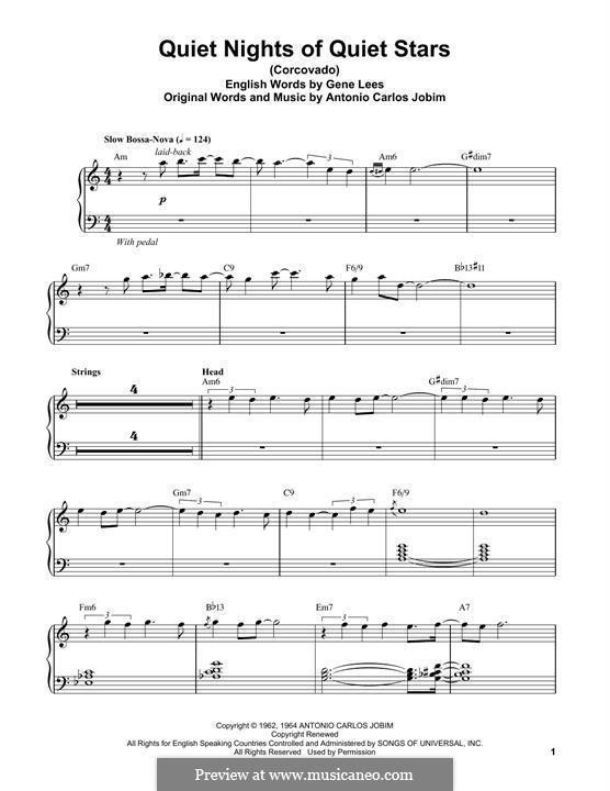 Corcovado (Quiet Nights of Quiet Stars): Для фортепиано (легкий уровень) by Antonio Carlos Jobim