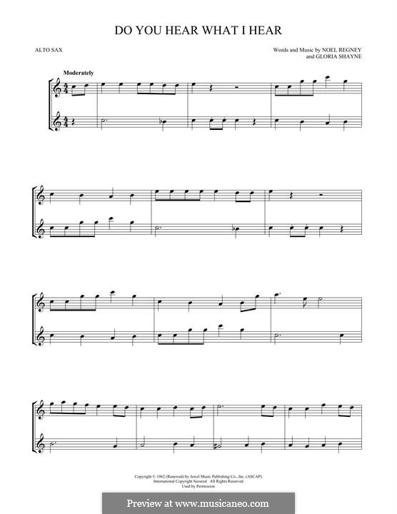 Do You Hear What I Hear (Instrumental version): For two alto saxophones by Gloria Shayne, Noël Regney