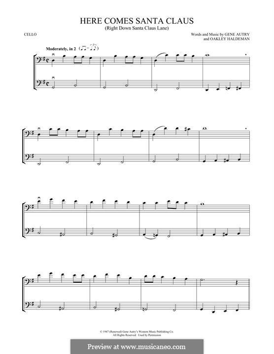 Here Comes Santa Claus (Right Down Santa Claus Lane): Для двух виолончелей by Gene Autry, Oakley Haldeman