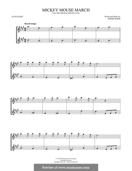 Mickey Mouse March: For two alto saxophones by Jimmie Dodd