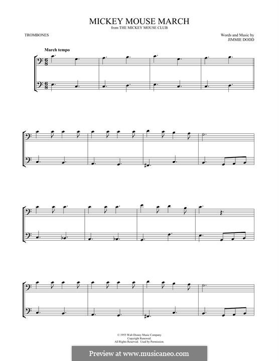 Mickey Mouse March: For two trombones by Jimmie Dodd
