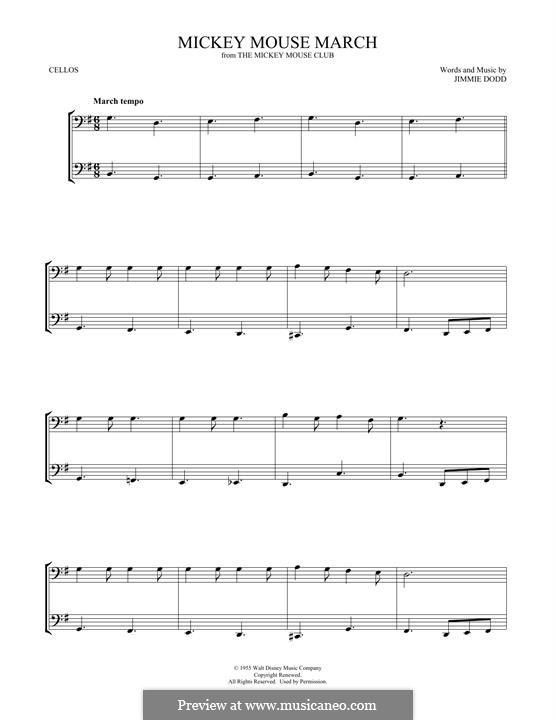 Mickey Mouse March: Для двух виолончелей by Jimmie Dodd