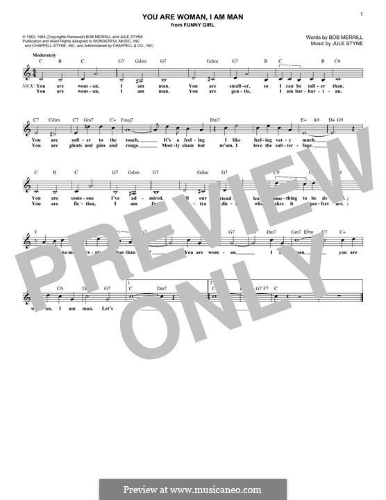 You Are Woman, I Am Man (Barbra Streisand): Для клавишного инструмента by Jule Styne
