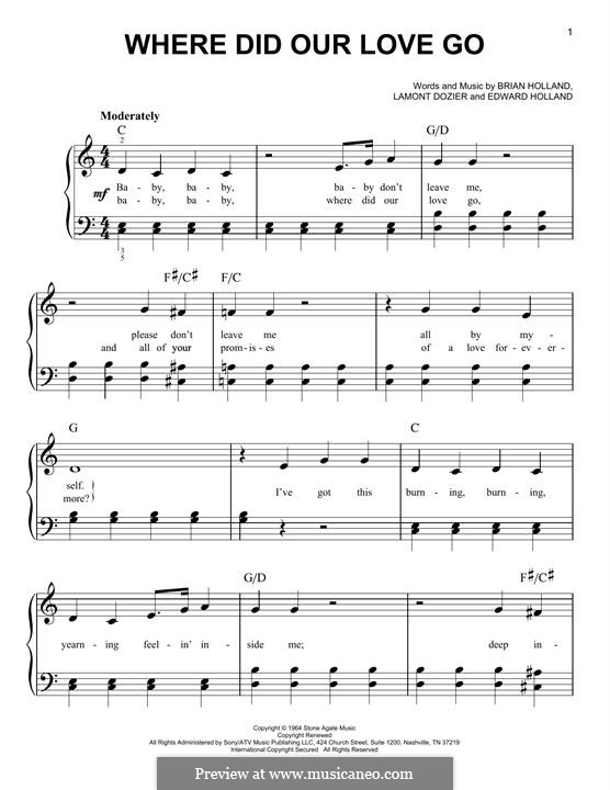 Where Did Our Love Go (The Supremes): Для фортепиано (легкий уровень) by Brian Holland, Edward Holland Jr., Lamont Dozier